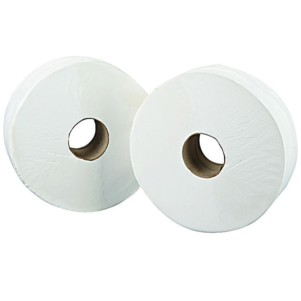 2Work White 76mm Core 2 Ply Jumbo Roll 92mm x 410m (6 Pack) J27410VW
