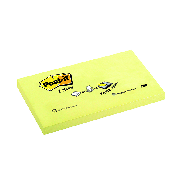 Post-it Z-Notes 76x127mm Canary Yellow (12 Pack) R350Y