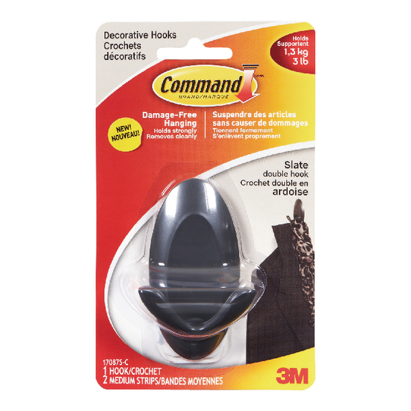 3M Command Slate Adhesive Double Hook (2 Pack) 17087S