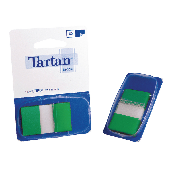 Tartan Dispenser 25x43mm 50 Sheet Green Index Tabs 70005033504