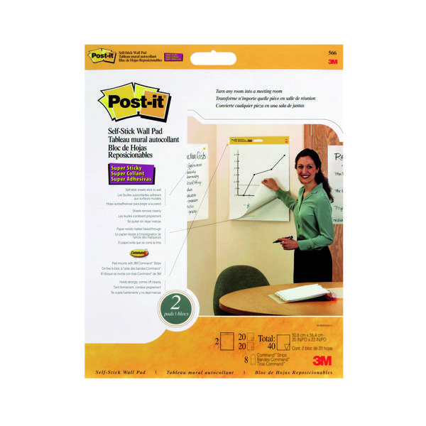 Post-it Table Top Meeting Chart White Refill Pad (2 Pack) 566