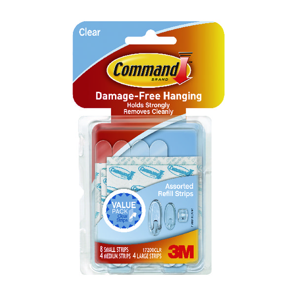 3M Command Clear Adhesive Strips Assorted Sizes (16 Pack) 17200CLR