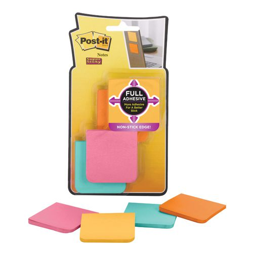 Post-it Super Sticky Full Adhesive Notes 51x51mm Assorted Blue, Yellow, Pink, Lime Green (Pack of 8) Buy One Get One Free 3M811226