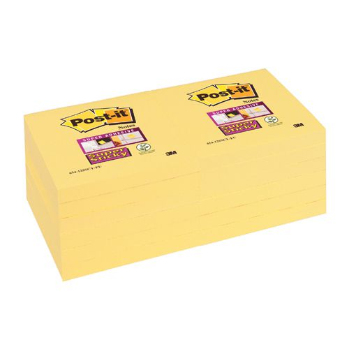Post-it Super Sticky Notes Canary Yellow 76 x 76mm (Pack of 12) Plus FOC Magazine Subscription 3M811230