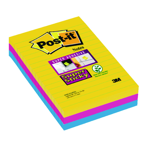 Post-it Super Sticky XXL Notes Rio 102 x 152mm (3 Pack) 3 For 2 3M811254