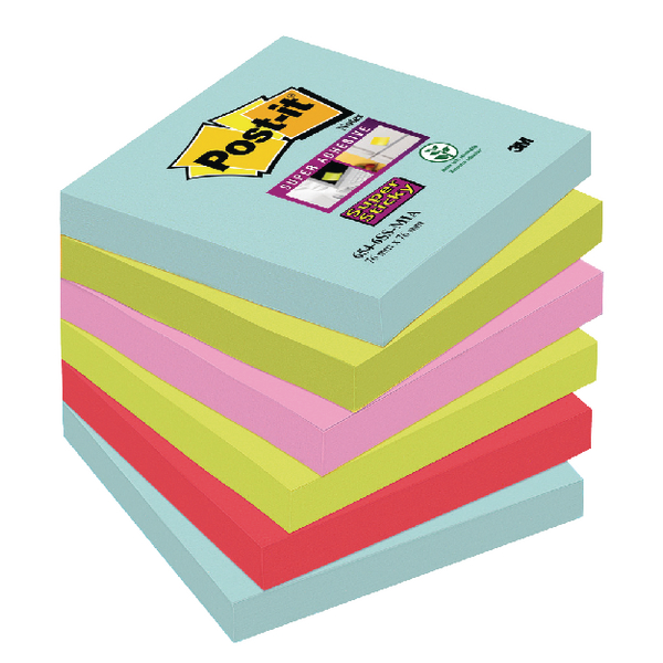 Post-it Super Sticky Notes Miami 76 x 76mm (6 Pack) Buy 2 Get 1 Free 3M811264
