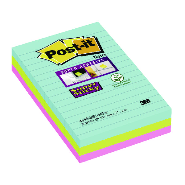 Post-it Super Sticky Lined Notes Miami XXL (3 Pack) Buy 2 Get 1 Free 3M811269