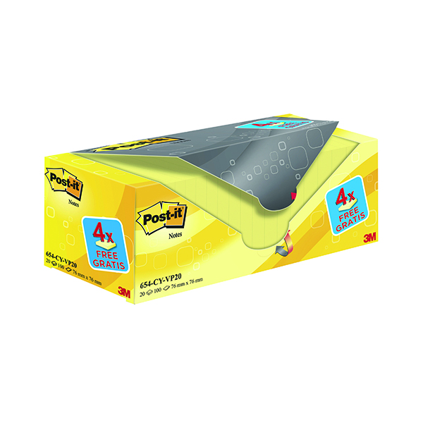 Post-it Notes 76 x 76mm Canary Yellow Value Pack (20 Pack) 654CY-VP20