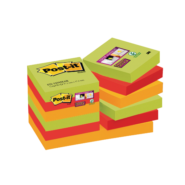 Post-it 47.6 x 47.6mm Marrakesh Super Sticky Notes (12 Pack) 622-12SSMAR-EU