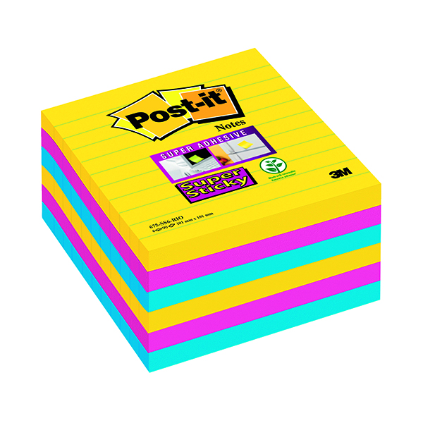 Post-it XL Lined 101 x 101mm Rio Super Sticky Notes (6 Pack) 675-SS6-RIO