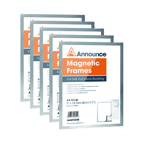 Announce Magnetic Frames A4 Silver (5 Pack) AA01841