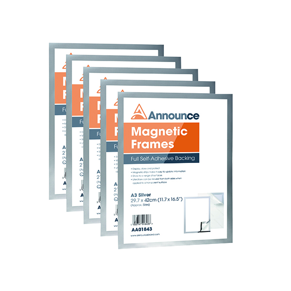 Announce Magnetic Frames A3 Silver (5 Pack) AA01844