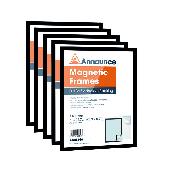Announce Magnetic Frames A4 Black (5 Pack) AA01847