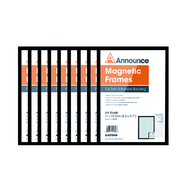 Announce Magnetic Frames A4 Black (10 Pack) AA01848