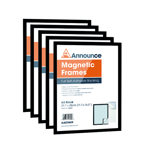 Announce Magnetic Frames A3 Black (5 Pack) AA01850
