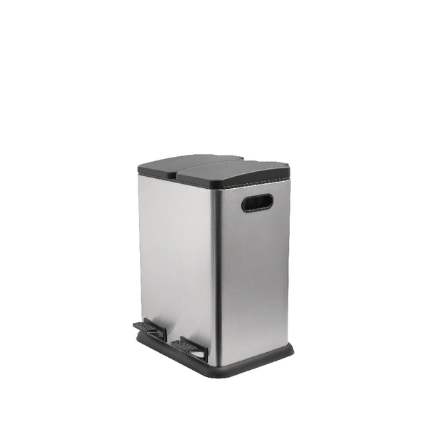 Addis Twin Compartment Recycling Pedal Bin 40 Litre Stainless Steel 514922