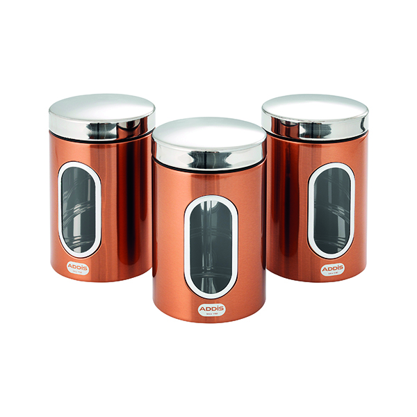 Addis Copper Finish Canisters 155 x 343 x 185mm (3 Pack) 515717