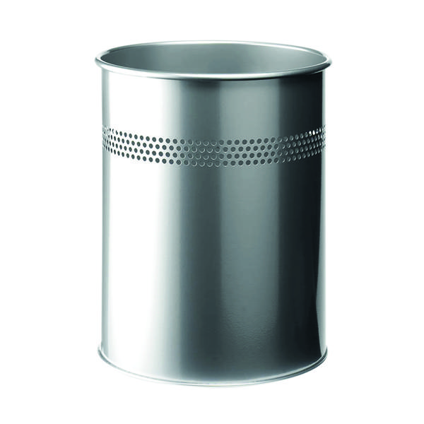 Durable Metal Waste Bin 15 Litre Silver 3300/​23