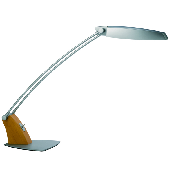 Alba Tendo 11W Grey/Wood Fluorescent Desk Lamp FLUOTEN UK