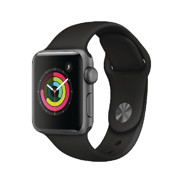 Apple Watch Series 3 Aluminium Case 38mm Black Sport Band GPS Space Grey MQKV2B/A