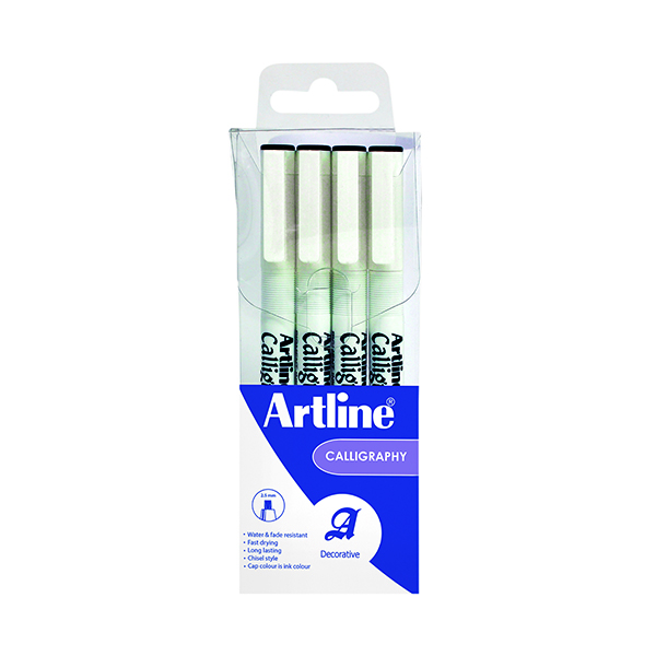 Artline Calligraphy Pen Set Assorted Nibs Black (4 Pack) EK-240W4