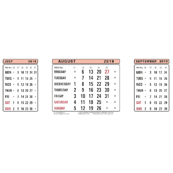 At-a-Glance Refill For 3S18 3 Month View Calendar 2019 3SR19