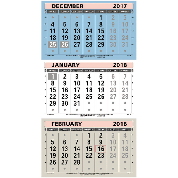 At-A-Glance Large Wall Calendar 3 Month To View 2018 TML18