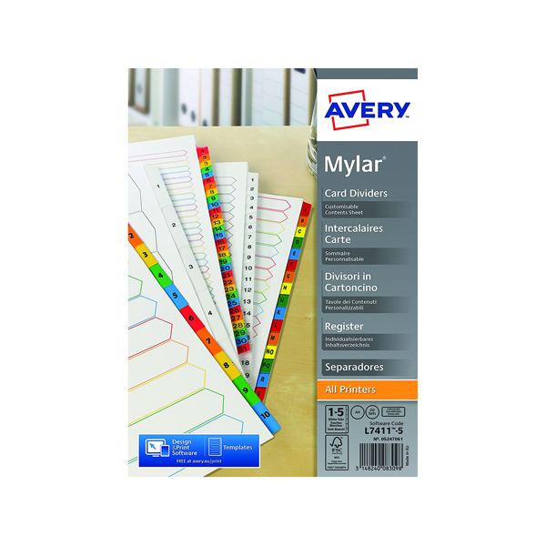 Avery Mylar Unpunched Divider 1-5 (20 Pack) 05247061