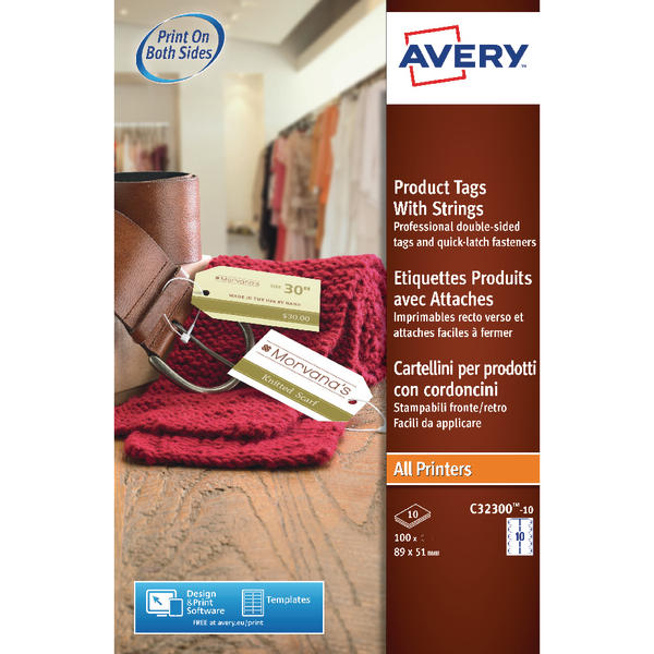 Avery White Printable Product Tag 89x51mm (100 Pack) C32300-10