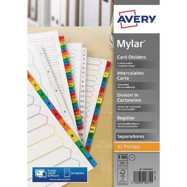 Avery Mylar Bright White 1-50 A4 Numeric Divider 05226061
