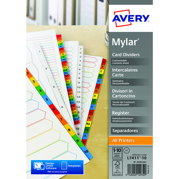 Avery Mylar Bright White 1-10 A4 Numeric Divider 05461061