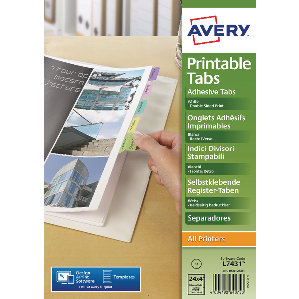 Avery Divider Printable Tabs (Pack of 96) 05412501