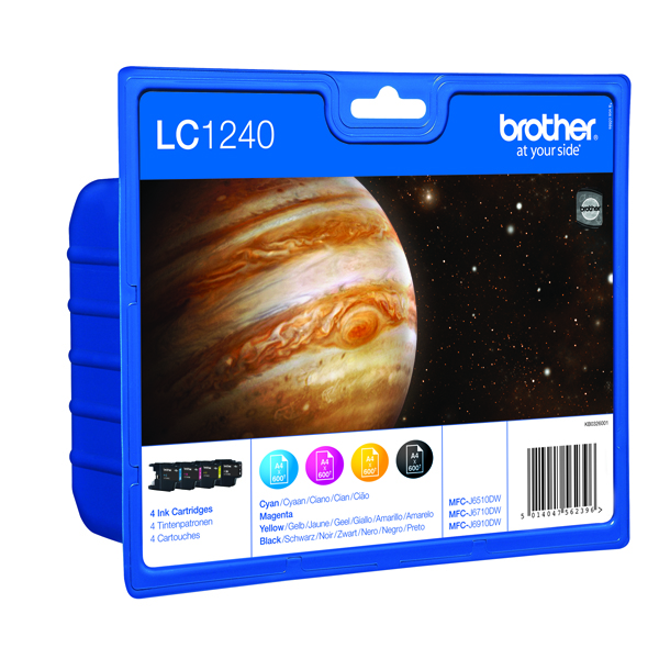 Brother LC-1240 Cyan/Magenta/Yellow/Black Inkjet Cartridges (4 Pack) LC1240VALBP