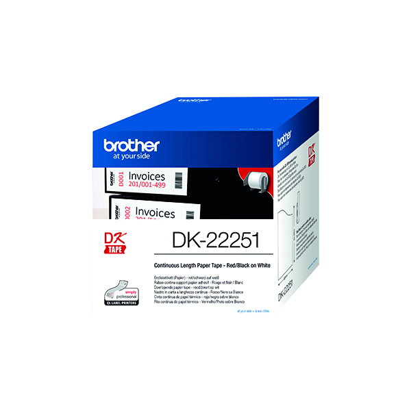 Brother Paper Labelling Tape Continuous Roll Black and Red on White 62mmx15.24m DK-22251