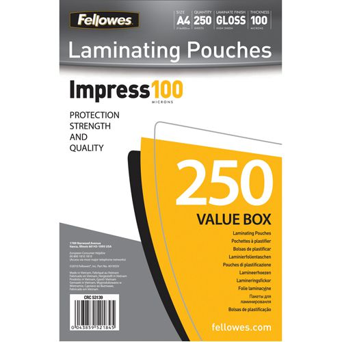 Fellowes A4 Laminating Pouches 100 Micron (Pack of 250) 5313901