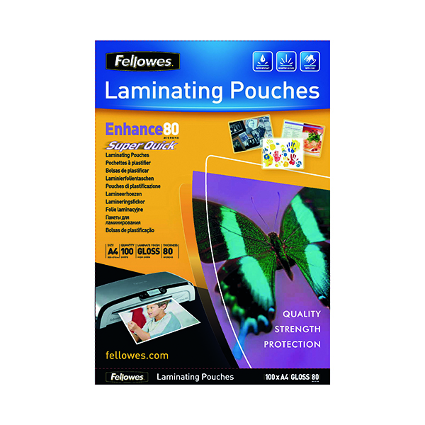 Fellowes Super Quick A4 Laminating Pouches 80 Micron (100 Pack) 5440001