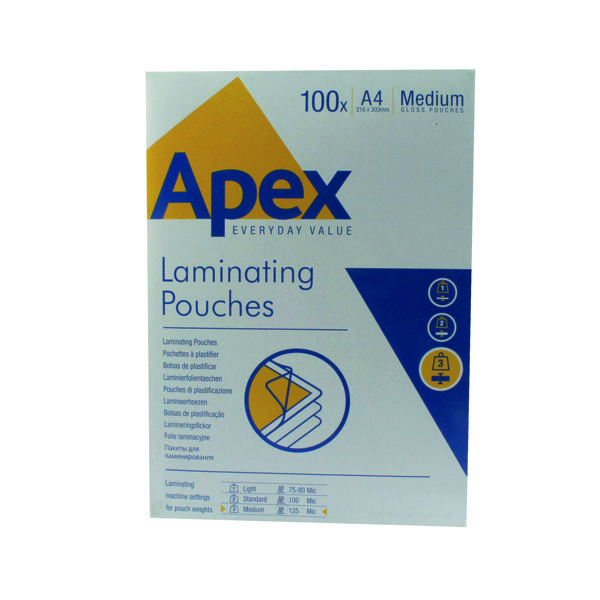 Apex A4 Medium Duty Laminating Pouches 250 Micron Clear (100 Pack) 6003501