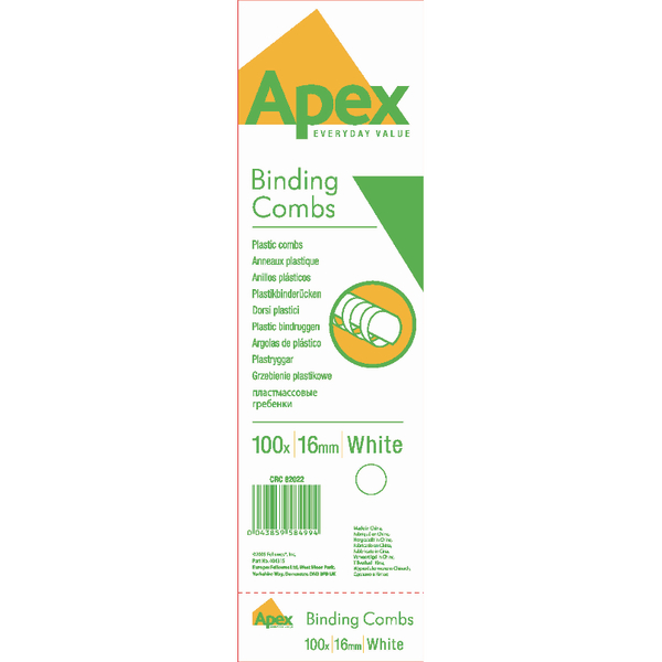 Fellowes Apex 16mm White Plastic Binding Combs (100 Pack) 6202201