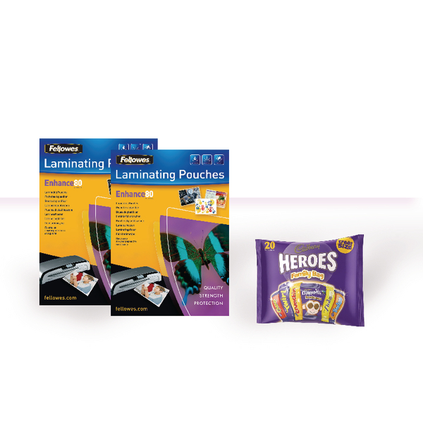 Fellowes A4 80 Micron Laminating Pouches with FOC Chocolate BB810498