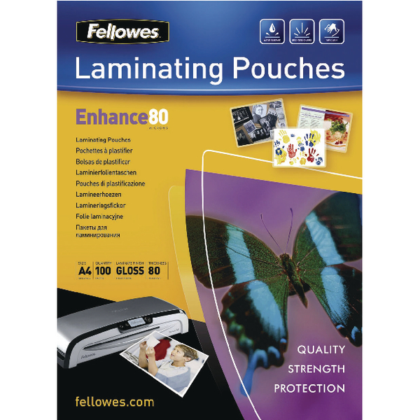 Fellowes A4 Adhesive Laminating Pouch 80 Micron (100 Pack) Buy One Get One Free BB810516