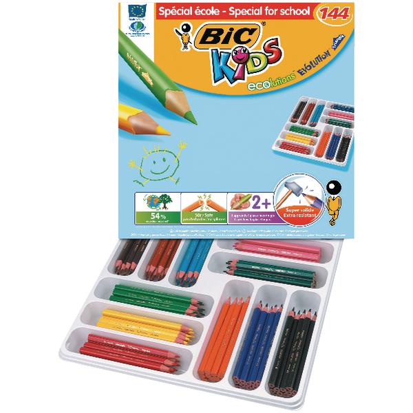 Bic Kids Ecolutions Triangle Colouring Pencils (144 Pack) 887831
