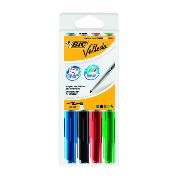 Bic Velleda 1741 Whiteboard Marker Bullet Tip Assorted (4 Pack) 1199001744