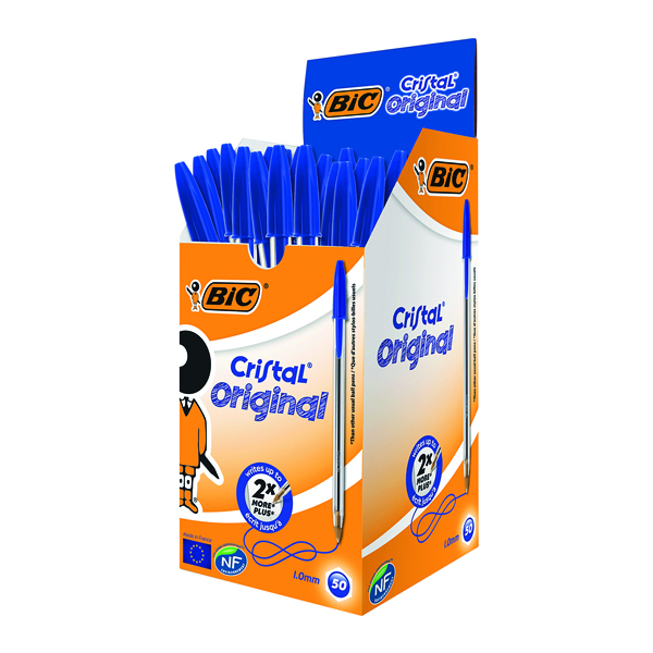 Bic Cristal Ballpoint Pen Medium Blue (50 Pack) 837360