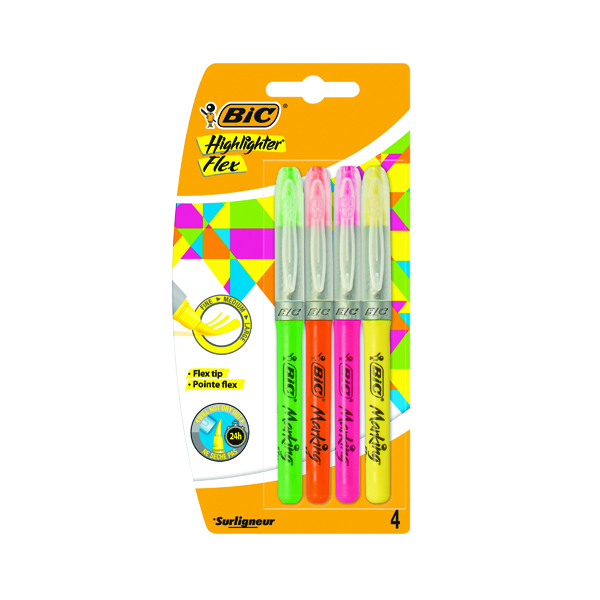 Bic Highlighter Flex Brush Tip Assorted Colours (4 Pack) 942041