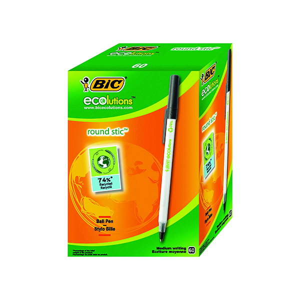 Bic Ecolutions Medium Ballpoint Black Pen (60 Pack) 893239
