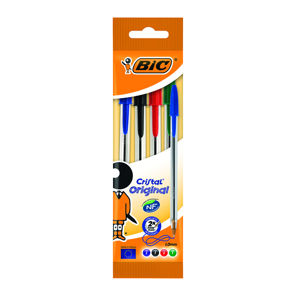 Bic Assorted Cristal Medium Ballpoint 4 Pen Pouch 8308621