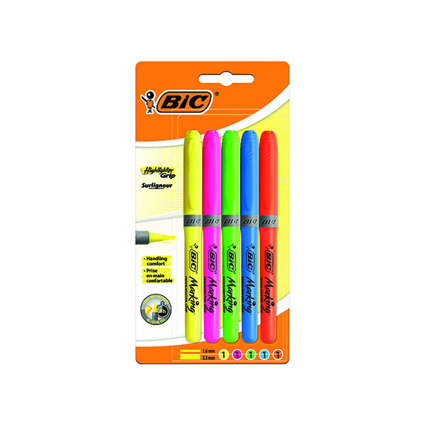 BIC Highlighter Grip Assorted (5 Pack) 894324