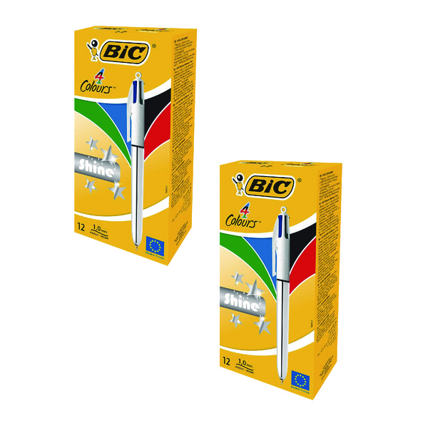 BIC 4 Colour Shine Assorted (24 Pack) BC810737