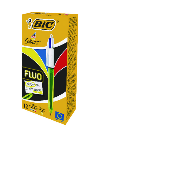 Bic 4 Colours Fluo Ballpoint Pen (24 Pack) BC810742