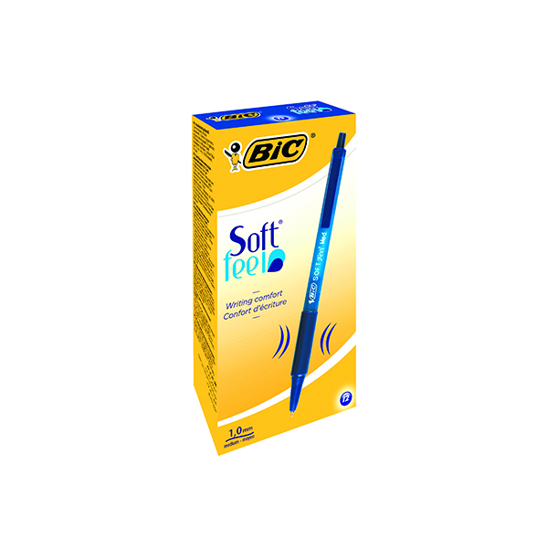 Bic SoftFeel Clic Retractable Ballpoint Pen Blue (12 Pack) 837398